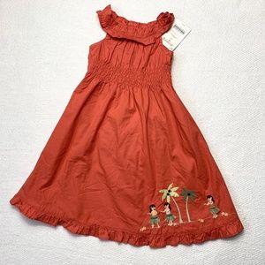 GYMBOREE 3T Orange Summer Dress Hula Girls